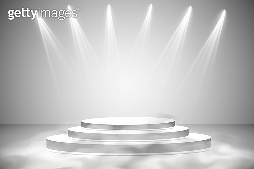 Round podium, pedestal or platform illuminated by spotlights on grey background. Stage with scenic lights. Vector illustration. Smoke and fog