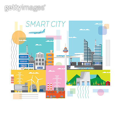 Smart City Infrastructure, Transportation, Connected, Energy and Power Concept