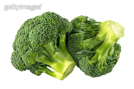 Broccoli isolated white background without shadow clipping path