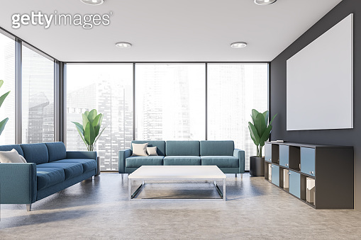 Gray office lounge interior with poster