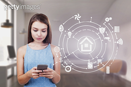 Woman with phone in bedroom, smart home