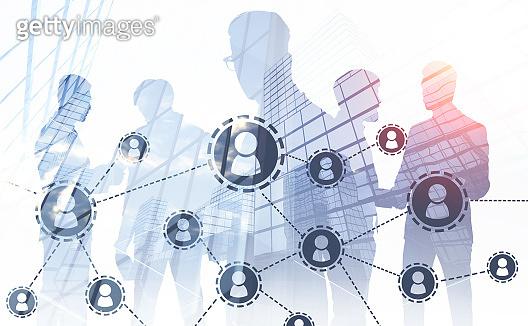 Communicating businessmen, social network