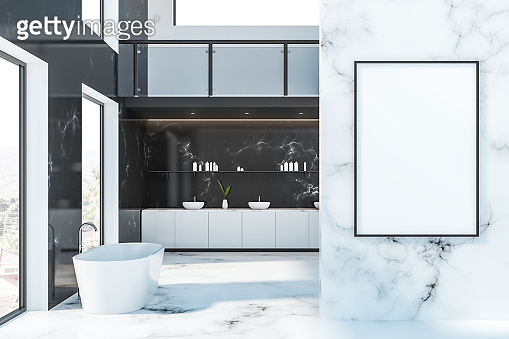 Marble hotel bathroom interior with poster