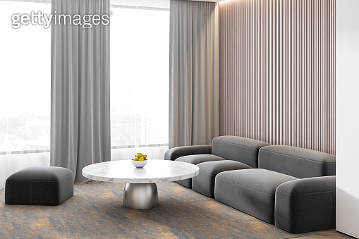 Grey concrete wall in a modern lovely living room sofa interior. 3d render.