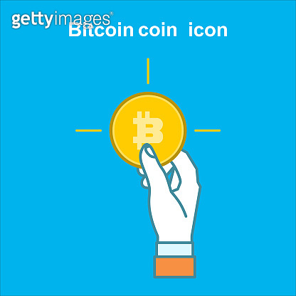 Bitcoin flat logo, icon for web, sticker for print.