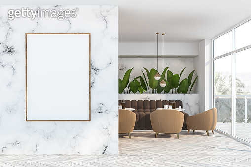 White marble cafe interior with poster