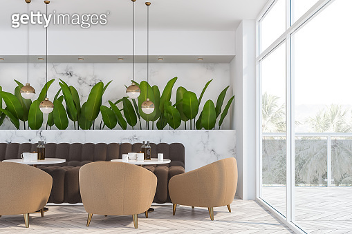 White marble panoramic cafe interior