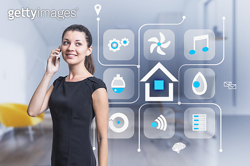 Smiling woman with phone, smart home icons