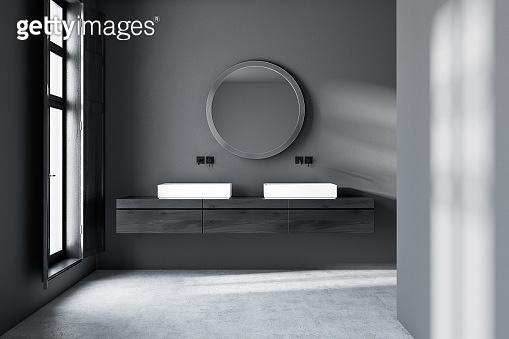 Dark gray bathroom, double sink