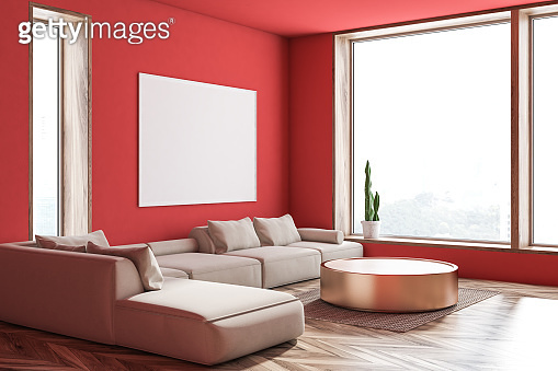 Red living room corner, sofa and poster