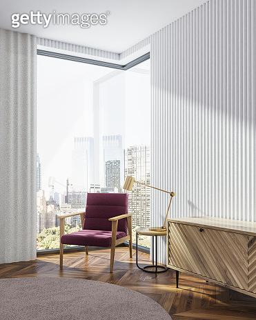 White living room corner, armchair and closet
