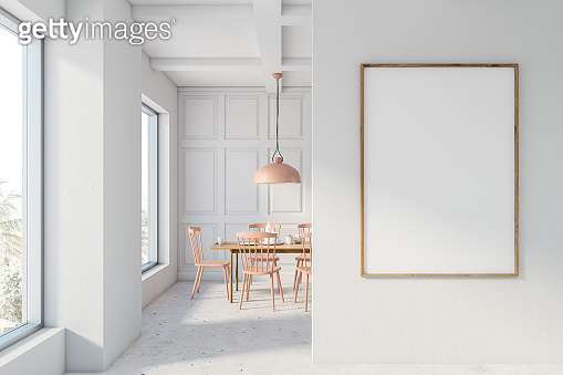 White and beige dining room with mock up poster