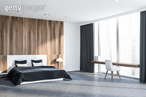 Wooden bedroom with table