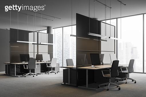 Gray panoramic office corner
