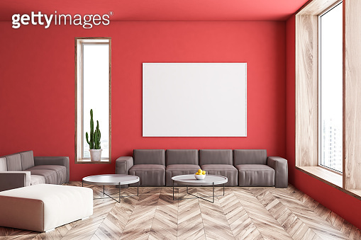 Red living room, brown sofa and picture