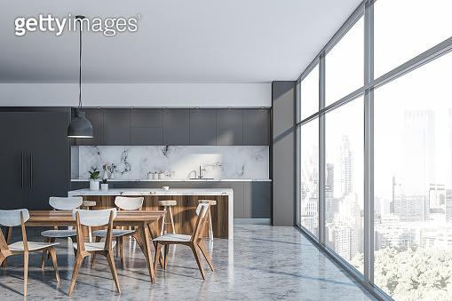 Luxury gray loft kitchen interior with bar
