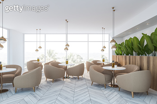 White restaurant interior with armchairs