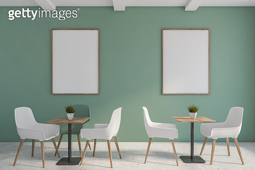 Green minimalist cafe interior with poster
