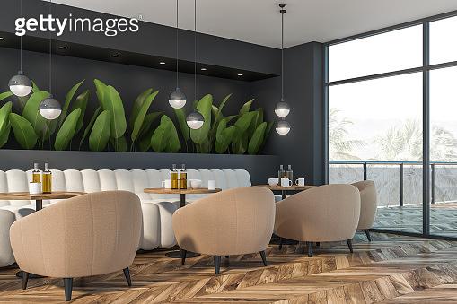 Gray nature style cafe corner