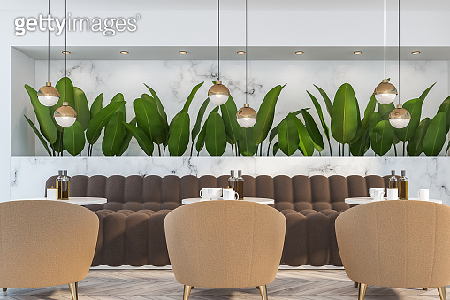 Close up of white marble nature style cafe