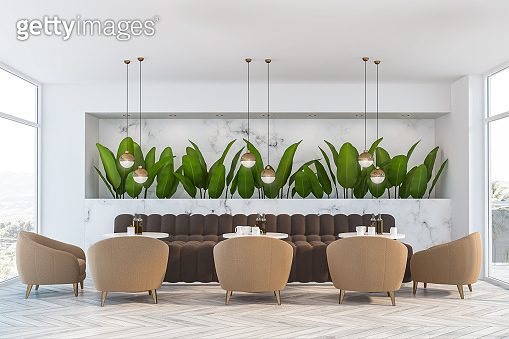 White marble nature style cafe interior