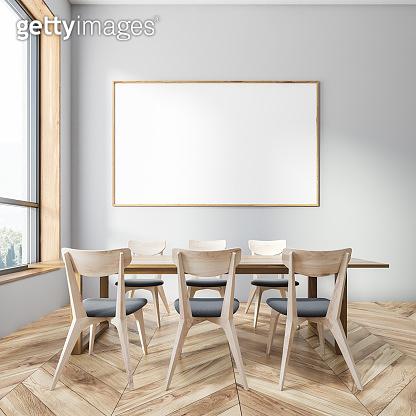 Gray dining room interior, horizontal poster