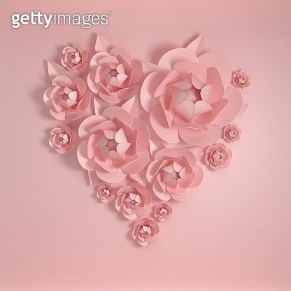 3d render paper flowers, heart shape. Pastel colors, pink background and paper flowers. Floral composition, wedding, quilling, Valentine's Day romantic elegant 14 february card