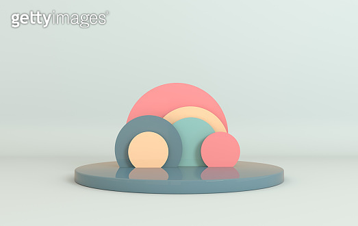 3d rendered studio with geometric shapes, podium on the floor. Set of platforms for product presentation, mock up background. Abstract composition in modern minimal design, pastel colors