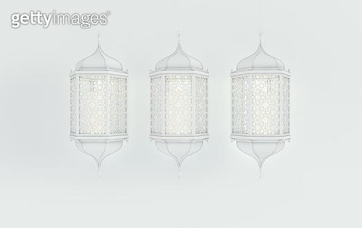 White lantern with candle, lamp with arabic decoration, arabesque design. Concept for islamic celebration day ramadan kareem or eid al fitr adha. 3d rendering illustration