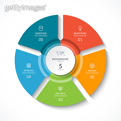 Vector infographic circle. Cycle diagram with 5 stages. Round chart that can be used for report, business analytics, data visualization and presentation.
