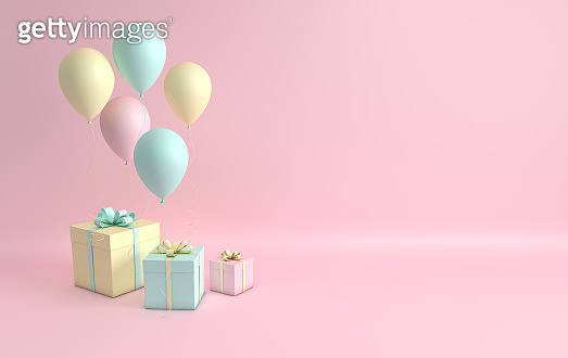 3d render illustration of realistic pink, turquoise and yellow balloons and gift box with bow on pink background. Empty space for party, promotion social media banners, posters.