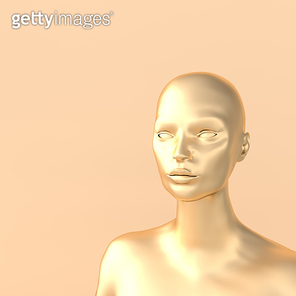 Female mannequin head 3d render. Shop display, pastel colors