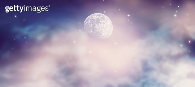 Fantastical fantasy background of magical deep purple night sky with moon, shining stars and mysterious clouds. Idyllic tranquil fabulous panoramic scene.