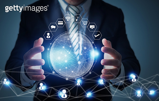 global innovation and networking technology concept, businessman holding social planet, networking connect worldwide with business icon data