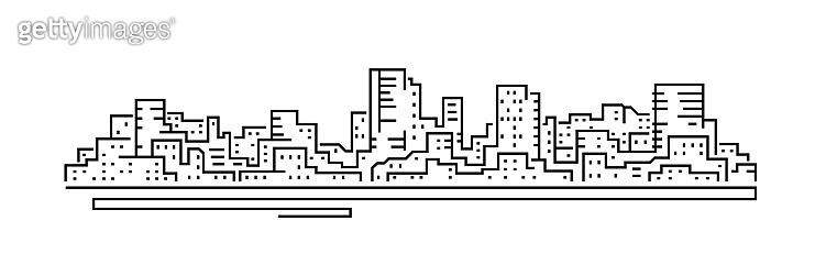 Line cityscape. City landscape. Buildings panorama. Simple modern cartoon design. Realistic silhouette. Urban view with skyscrapers. Flat style vector illustration.