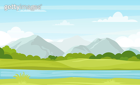 Vector illustration of summer landscape with mountains and river. Beautiful mountains view in cartoon flat style, good background for your banner design.