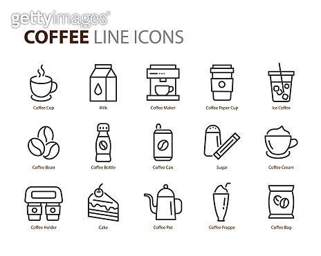 set of coffee line icons, such as tea, matcha, lemon, cocoa, milk, cream, pot, drinks