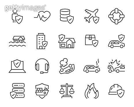set of insurance icons, such as risk, health, travel insurance, damage