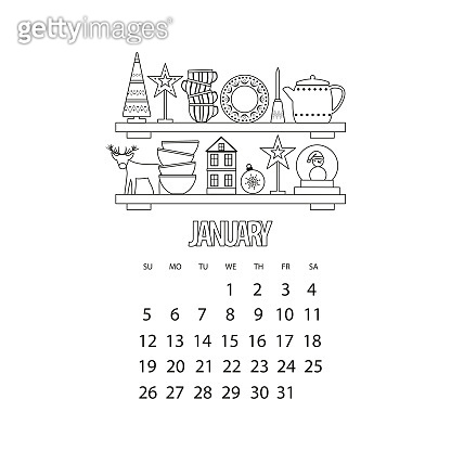 January month 2020 calendar. Kitchen shelf with utensils and winter decor, outline vector illustration