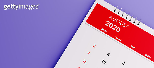 2020 August Calendar on Lavender Background