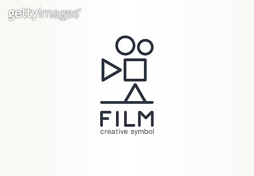 Film, movie industry creative symbol concept. Play, stop, pause button, cinema abstract business pictogram. Vintage video camera, media production icon