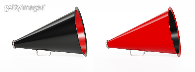 Red And Black Megaphone Pair Standing On White Background