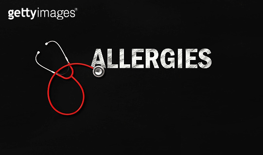 Stethoscope and Allergies Text on Blackboard
