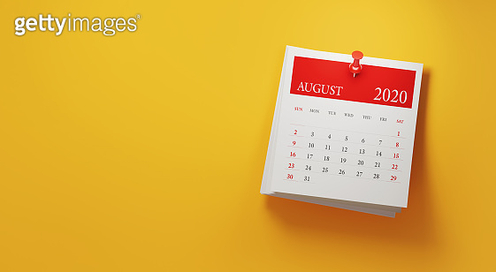 2020 Post It August Calendar on Yellow Background