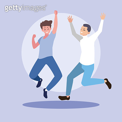 group of young men happy jumping celebrating