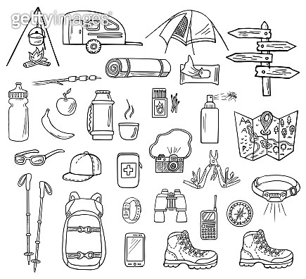 Hand-drawn camping vector icons