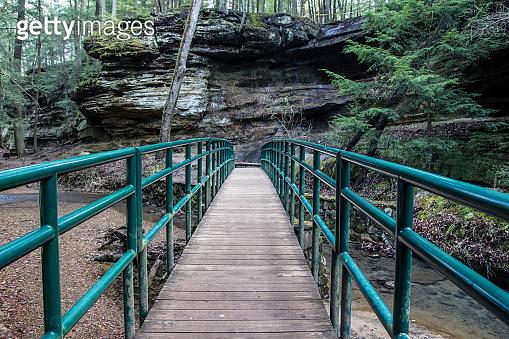 Hiker Footbridge In Woods At Hocking Hills