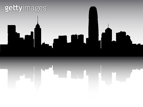 Silhouette Skyline Panorama of Hong Kong