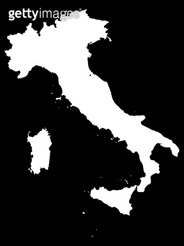White Map of Italy on Black Background