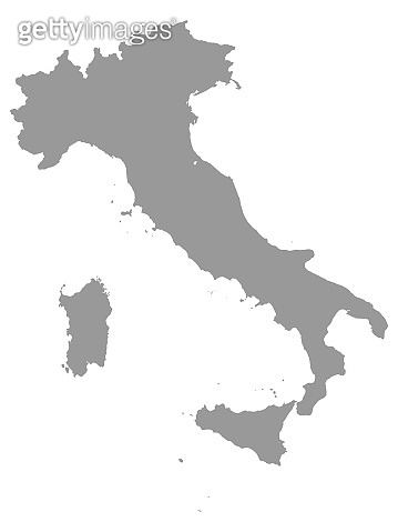 Gray Map of Italy on White Background